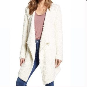1.State Drape Front Poodle Cardigan white NWT